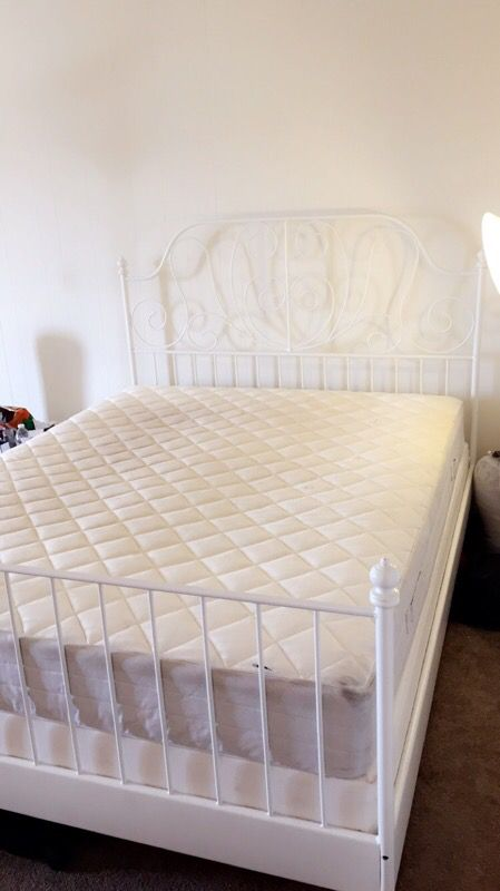 ikea leirvik bed frame white with box and matress