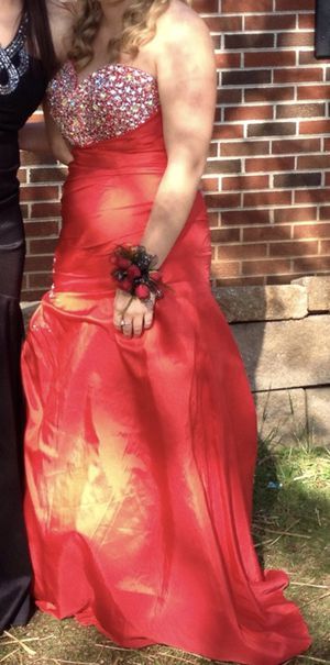 Red strapless prom dress