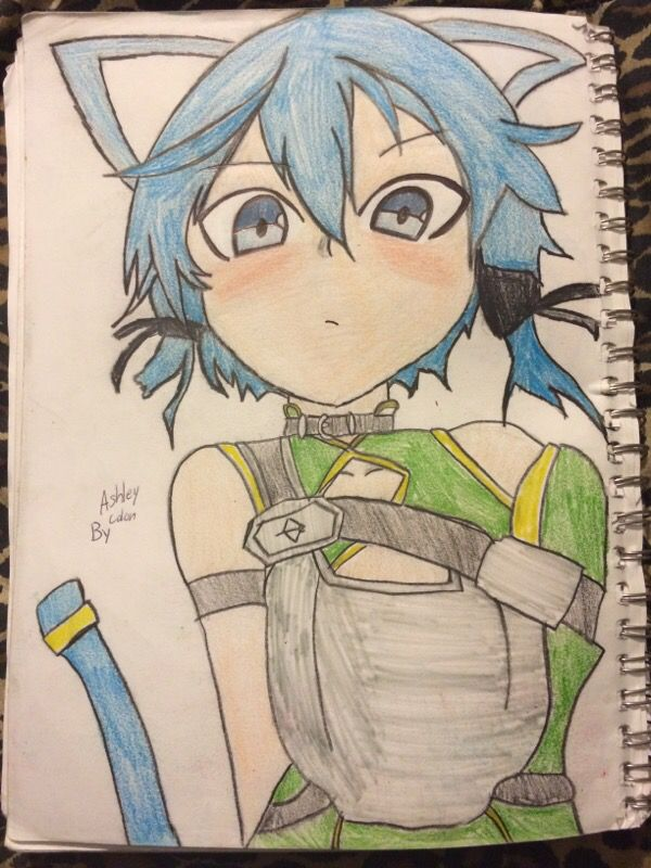 sinon from sao sword art online anime drawing
