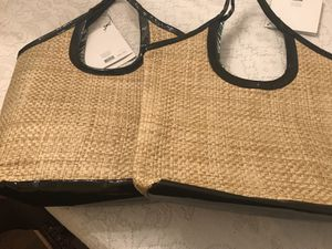 Two Beach Bags (straw and patent)
