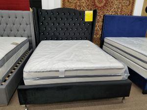 Brand new black color velvet material studded queen size platform bed