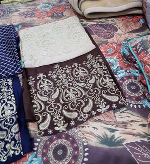 Brown n beige full embroidered trousers n shirts fabric unstiched