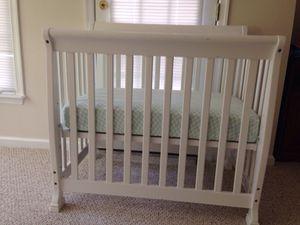 White Mini Crib with mattress