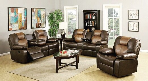 New in Box Two Tone Brown Leather Living Room Set (Furniture) in ...