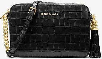 New unopened Michael Kors Ginny Embossed Black Leather Crossbody