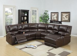 Brown Leather Reclining Selectional set... $1,599.99 or as low as $57.34 per week... please visit (iNeedBed. info) for more details