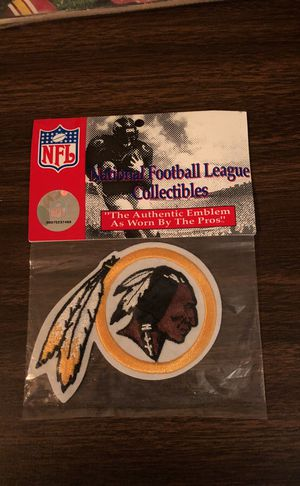 "Redskins Emblem Patch! 4"" long by 3"" High! Never Opened! National Emblem Product"
