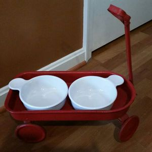 Vintage Red Metal Wagon Pet Food Tray