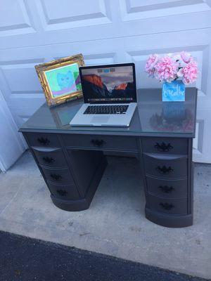 Antique mahogany slate gray chalk paint double pedestal desk