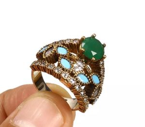 925 Sterling Silver, Turkish Emerald Topaz Turquoise, Ring Size 7.5
