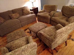 Couch, 2 large chairs, and chair/ottoman living room set