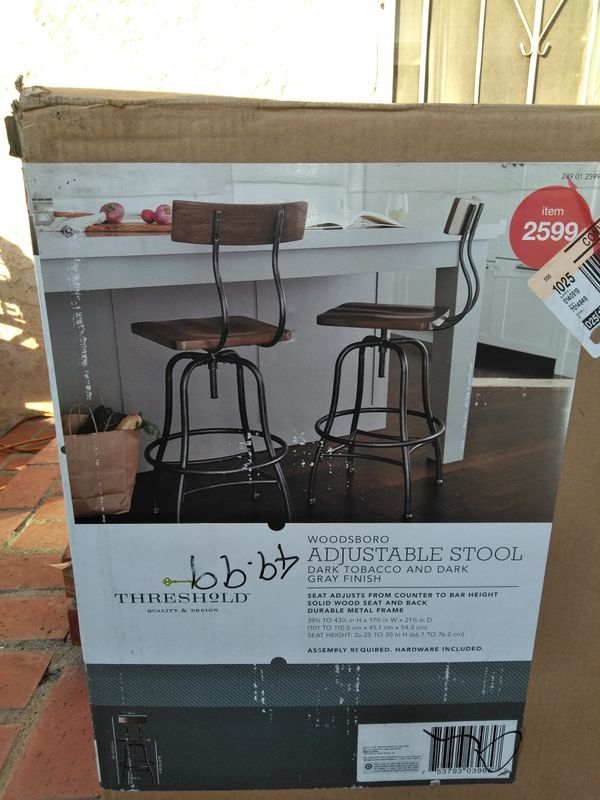 WOODSBORO ADJUSTABLE STOOL, dark tobacco and dark grey finish ...