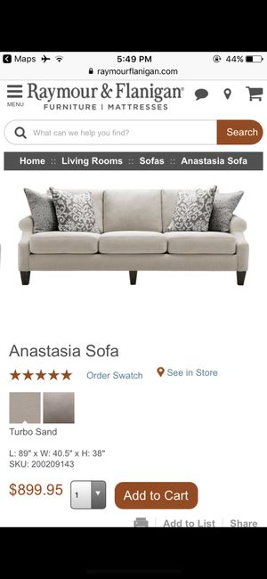 Raymour and Flanigan Anastasia sofa in Stone with pillows (SUPER COMFORTABLE)