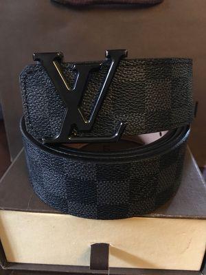 Lv Belt Black Checker