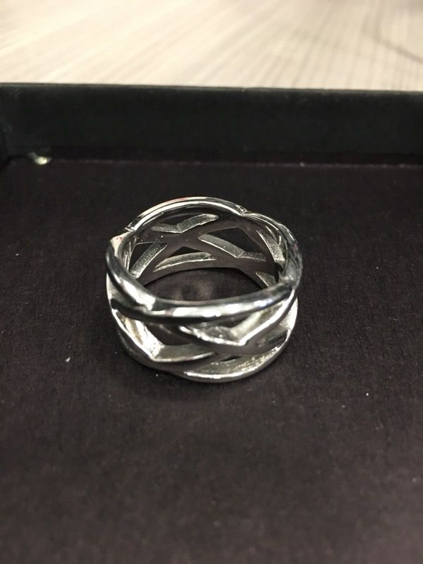 infinity engraved custom ring with triple stones double