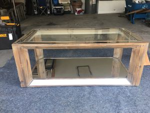 Glass Coffee Table with Real Wood Frame