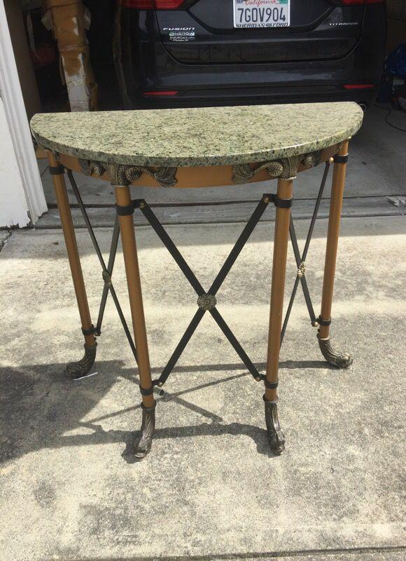 Hall table granite top brass metal base Furniture in San Ramon