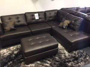 Brand new expresso leather sectional with ottoman (final price)