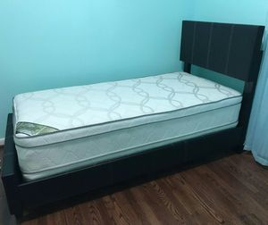 Brand New Twin Size Leather Platform Bed Frame + Pillowtop Mattress