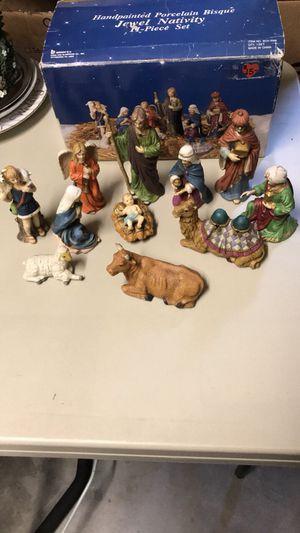 Handpainted Porcelain Bisque Jewel Nativity 11 Piece Set