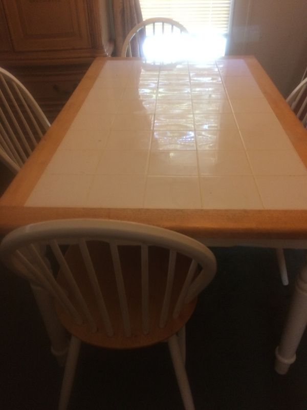 Ceramic Dining Room Table With Four Matching Chairs