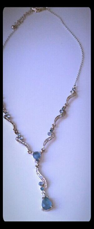 Blue stone sterling silver necklace