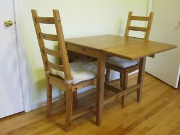 Dining Table Drop Leaf And 2 Chairs Set By IKEA
