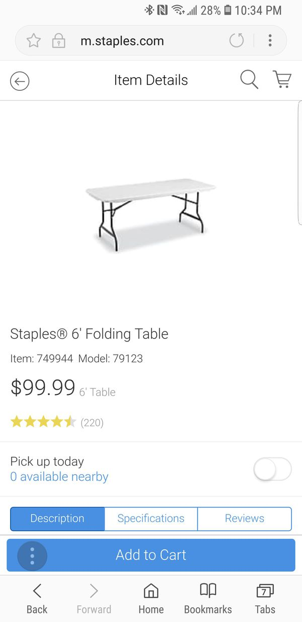 2pcs Staples 6 Folding Table