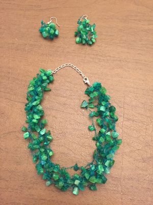 Cut Glass Necklace and Earrings