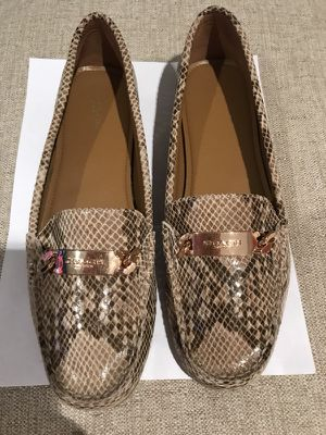 NW Women's Coach New York Chelsea Ballet Flats, Olive Leather - Size 10
