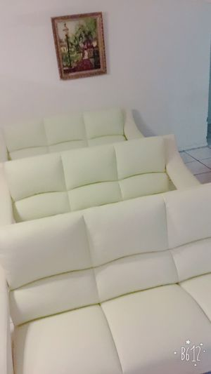 Open box leather sofa light green and white leather $399 each