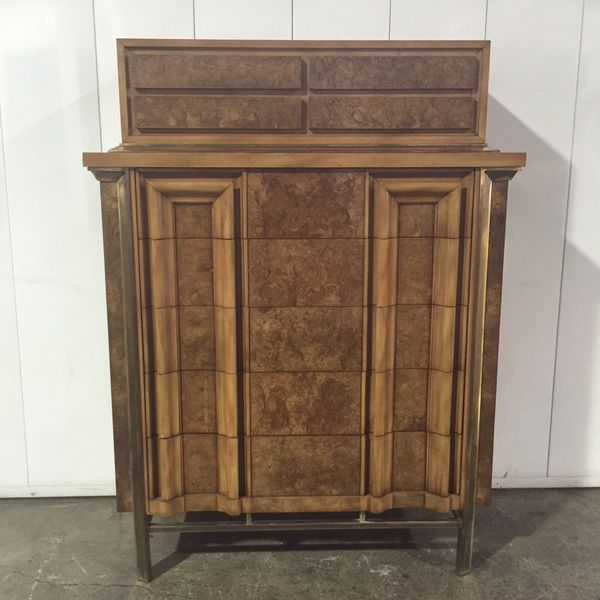 Mid Century Burl A Wood Highboy Dresser By JL Metz