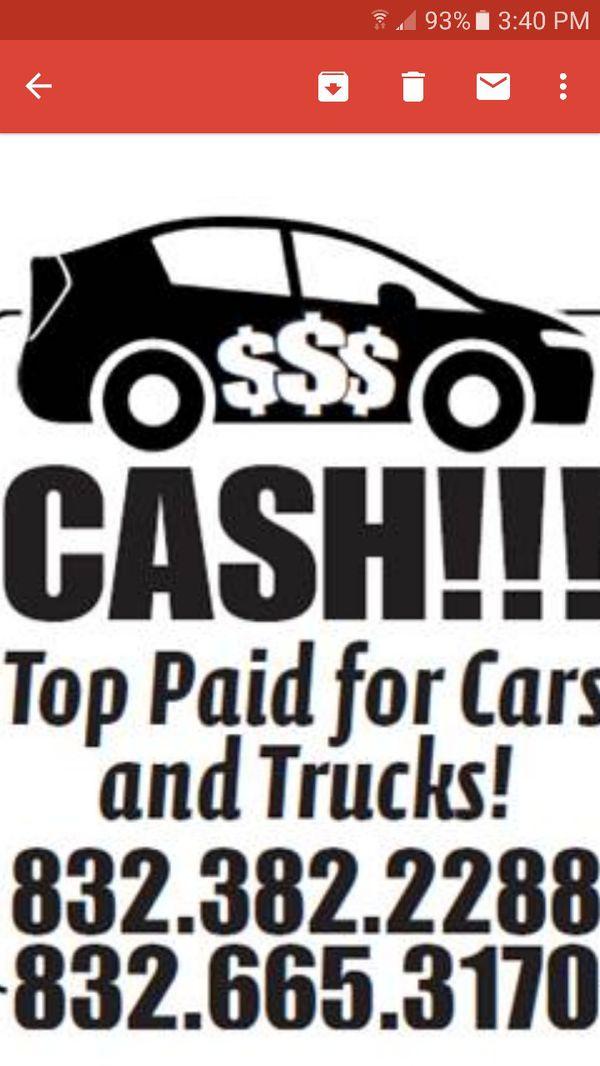 we buy all cars, vans, trucks, and RVs (Campers & RVs) in Pasadena, TX