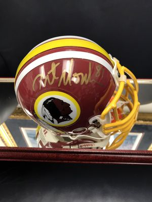 Autographed by WR NFL Mini-Helmet by Washington Redskins Great Art Monk in Gold Paint Pen Official