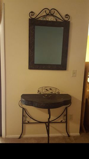Console Table and Mirror with bowl