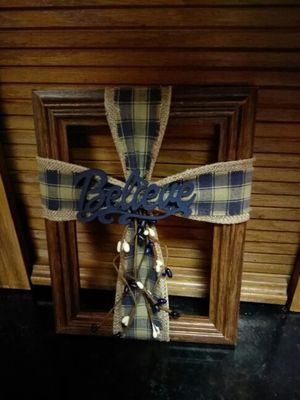 """Fabric cross on wooden 5"""" x 7"""" frame"""