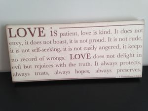 Love is patient wall art, 18 x 8