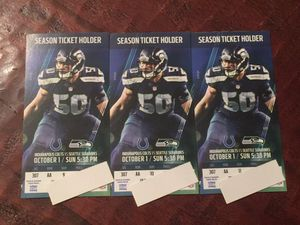 Seahawks tickets vs Colts - 3 seats - upper sideline covered