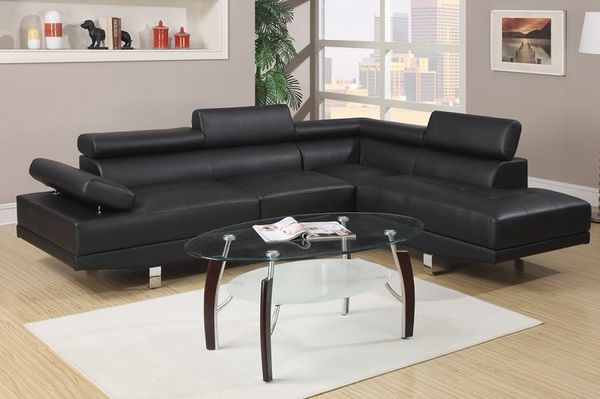 New Astro Collection Black Leather Sofa Sectional W Chrome Legs