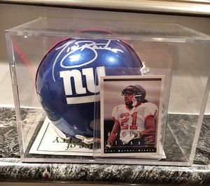Tiki Barber NY Giants Autographed Mini Helmet w/ Rookie Card!