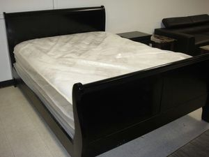 Brand new queen size sleigh bed frame with mattress and box spring