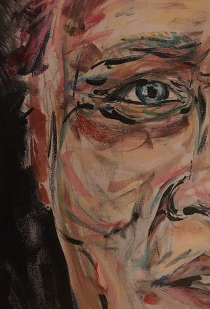 Psychedelic original painting of Christopher Walken