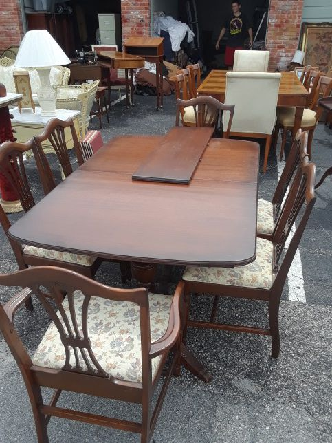 1940s Duncan Phyfe Style Dining Room Table With 6 Chairs Furniture In Pompano Beach FL