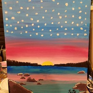 Sunset on Lake Tahoe painting
