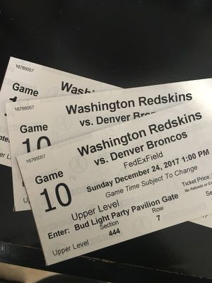 3 Washington Redskins vs Denver Broncos Tickets