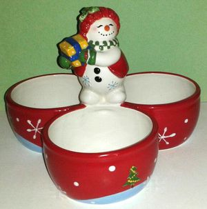 Christmas FESTIVE FROSTY 3- Part Serving Bowl
