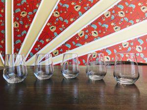 Set of 5 Elegant Stemless Wine/ Water Glasses