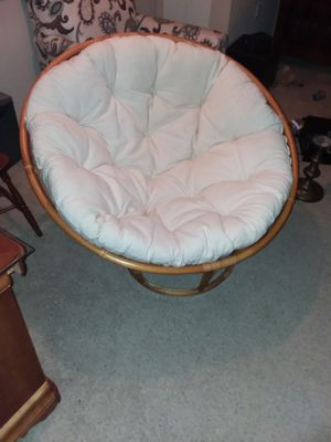 Two twin round bamboo chairs