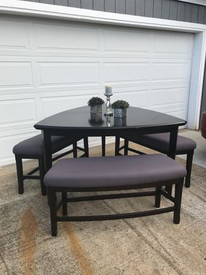 Modern Black Counter Height Dining Table With 3 Bench Seats