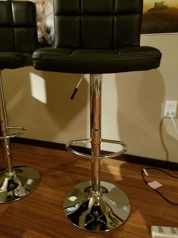 2 Black Leather Adjustable Bar Stools Furniture In